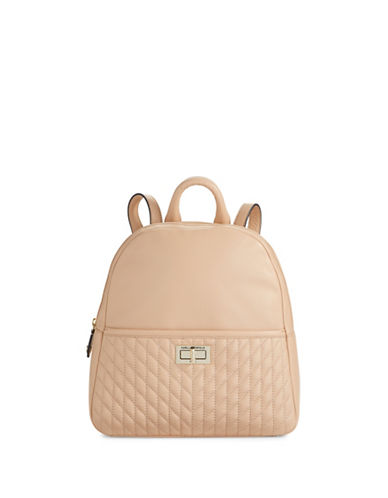 Karl Lagerfeld Paris Agyness Leather Backpack-BEIGE-One Size