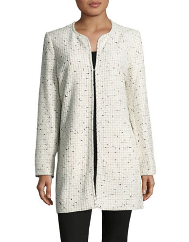 Karl Lagerfeld Paris Tweed Jacket-IVORY/BLACK-Large