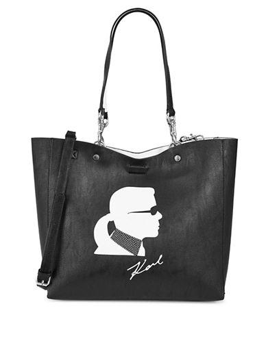 Karl Lagerfeld Paris Adele Reversible Karl Print Tote Bag-BLACK/WHITE-One Size
