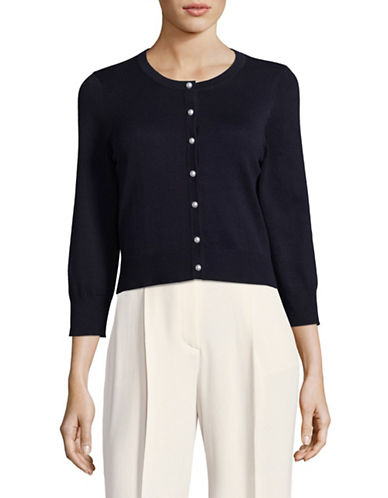 Karl Lagerfeld Paris Pearl-Look Buttoned Crop Cardigan-NAVY-Large