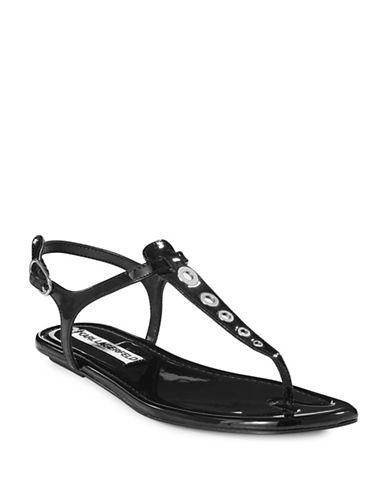 Karl Lagerfeld Paris Patent T-Strap Sandals-BLACK-7