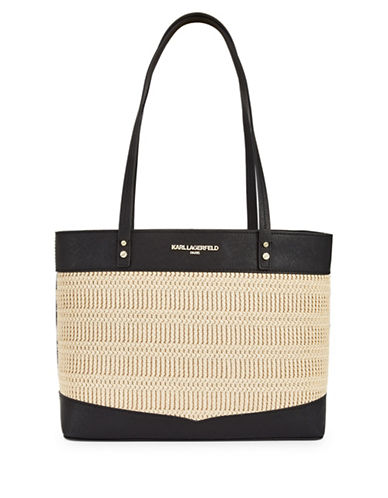 Karl Lagerfeld Paris Maybelle Raffia Tote-BLACK-One Size