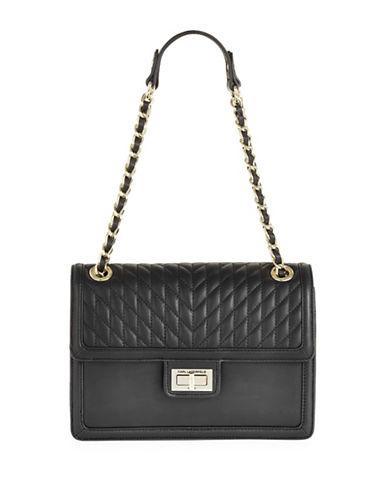 Karl Lagerfeld Paris Agyness Leather Shoulder Bag-BLACK/GOLD-One Size