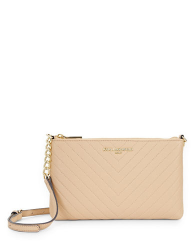 Karl Lagerfeld Paris Charlotte Leather Shoulder Bag-NUDE-One Size