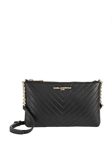 Karl Lagerfeld Paris Charlotte Leather Shoulder Bag-BLACK-One Size