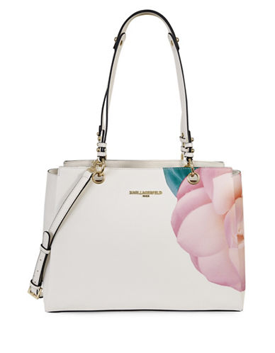 Karl Lagerfeld Paris Dore Floral Saffiano Tote-WHITE FLORAL-One Size