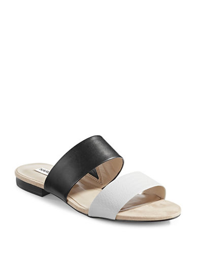 Karl Lagerfeld Paris Two-Band Slide Sandals-WHITE-9