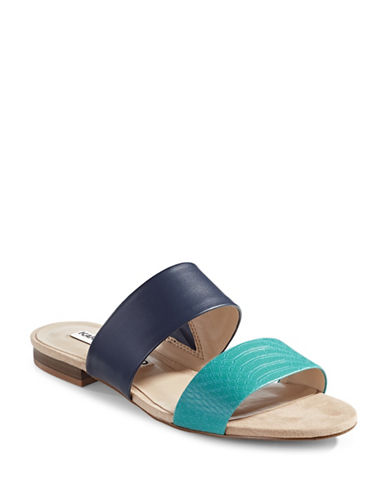 Karl Lagerfeld Paris Two-Band Slide Sandals-BLUE-7.5