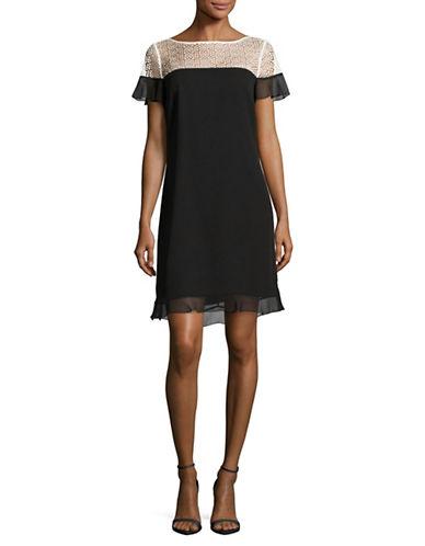 Karl Lagerfeld Paris Clip Dot Shift Dress-BLACK/IVORY-4