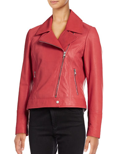 Karl Lagerfeld Paris Washed Leather Moto Jacket-RED-Large 88918281_RED_Large
