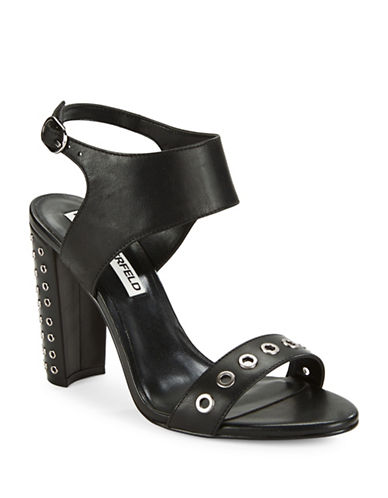 Karl Lagerfeld Paris Leola Grommet Studded Sandals-BLACK-7.5