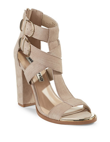 Karl Lagerfeld Paris Buckled Block-Heel Sandals-BEIGE-8.5