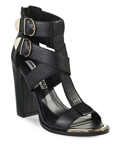 Karl Lagerfeld Paris Buckled Block-Heel Sandals-BLACK-10