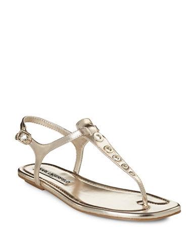 Karl Lagerfeld Paris Patent T-Strap Sandals-GOLD-6