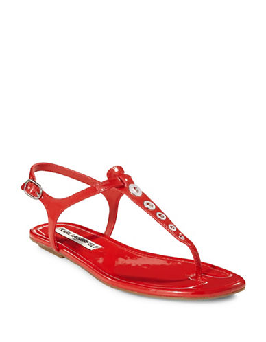 Karl Lagerfeld Paris Patent T-Strap Sandals-RED-7