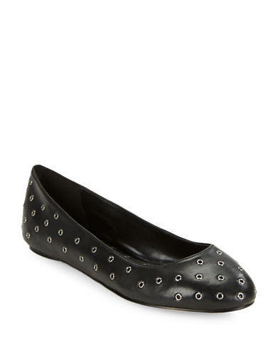 Karl Lagerfeld Paris ?Lacina Grommeted Leather Ballet Flats-BLACK-5