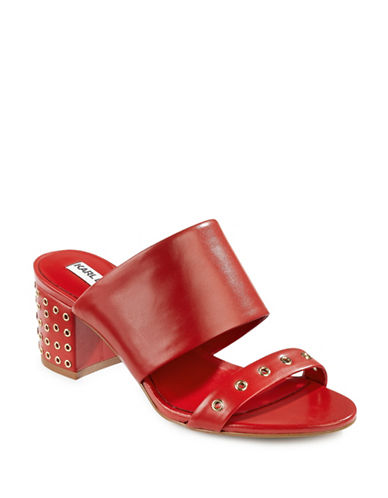 Karl Lagerfeld Paris Hara Grommet Leather Mules-RED-7.5