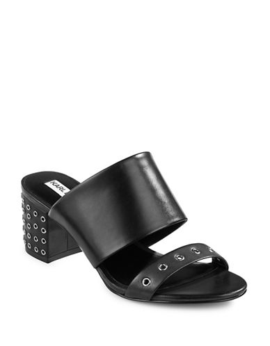 Karl Lagerfeld Paris Hara Grommet Leather Mules-BLACK-7.5