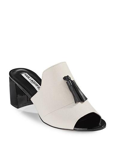 Karl Lagerfeld Paris Hettie Tassel Mules-WHITE-6