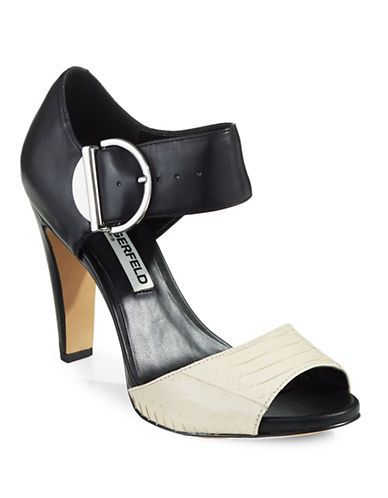 Karl Lagerfeld Paris Cherina Buckled Cone Sandals-GREY-9.5