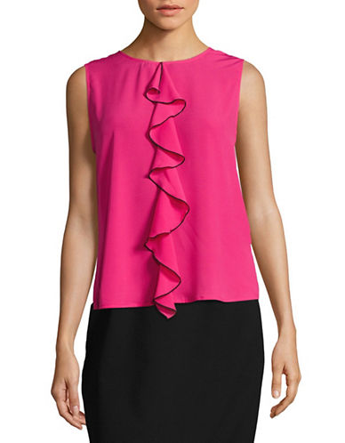 Karl Lagerfeld Paris Ruffled Knit Top-PINK-Small 88841446_PINK_Small
