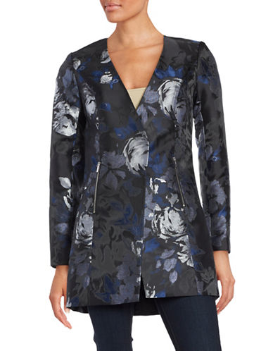 Karl Lagerfeld Paris Open Floral Jacquard Jacket-BLACK/MULTI-2