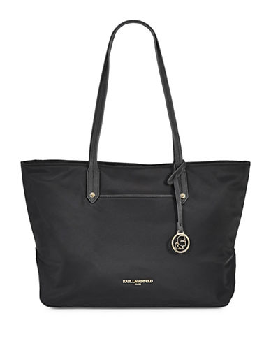 Karl Lagerfeld Paris Contrast Trim Nylon Tote-BLACK-One Size
