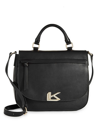 Karl Lagerfeld Paris Jeanette Leather Messenger Bag-BLACK-One Size
