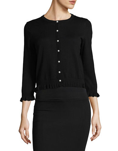 Karl Lagerfeld Paris Lace Ruffle Trim Cardigan-BLACK-X-Small