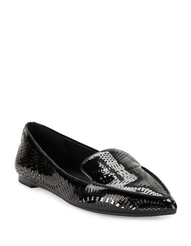 Karl Lagerfeld Paris Danica Laser-Cut Leather Smoking Flats-BLACK-8.5