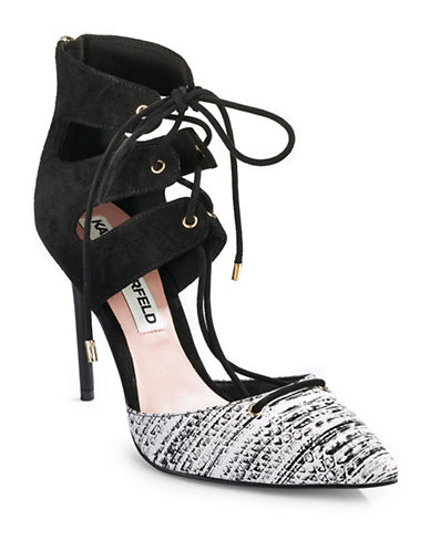 Karl Lagerfeld Paris Addily Suede Combo Lace-Up Pumps-BLACK/WHITE-7