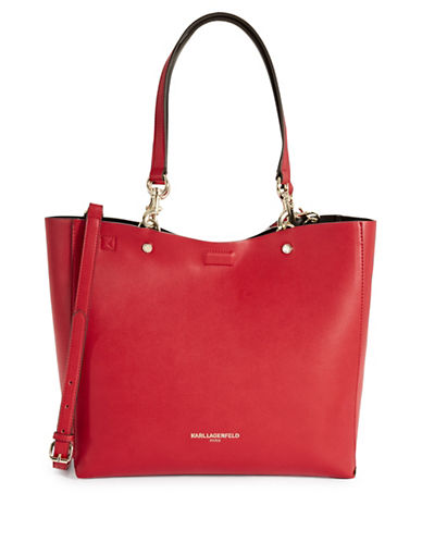 Karl Lagerfeld Paris Adele Reversible Tote with Pouch-RED-One Size