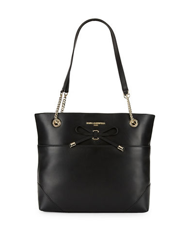 Karl Lagerfeld Paris Bow-Accented Leather Tote-BLACK-One Size