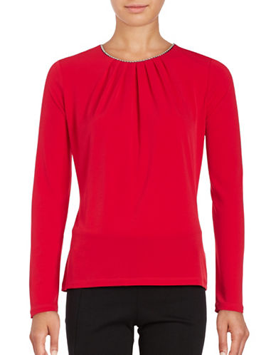 Karl Lagerfeld Paris Long Sleeved Beaded Top-RED-Large 88766380_RED_Large
