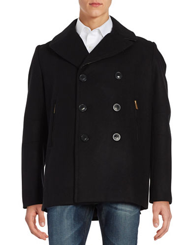 Karl Lagerfeld Studded Leather-Trimmed Peacoat-BLACK-X-Large