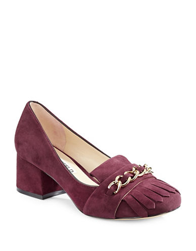Karl Lagerfeld Paris Aduro Chain Vamp Suede Loafers-BORDEAUX-7