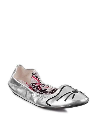 Karl Lagerfeld Paris Boxed Shupet13 Ballerina Flats-SILVER-7.5