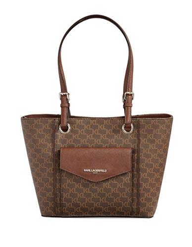 Karl Lagerfeld Paris Marie Monogram Tote Bag-BROWN-One Size