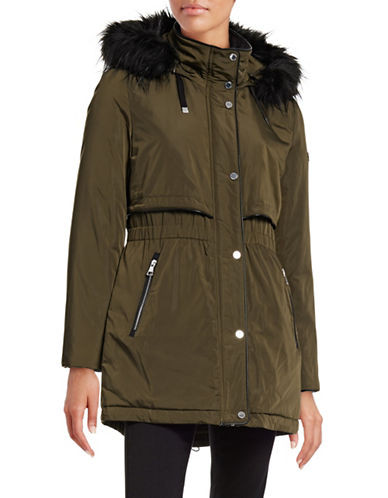Karl Lagerfeld Paris Puffer Down Parka with Faux Fur-GREEN-X-Small 88555491_GREEN_X-Small