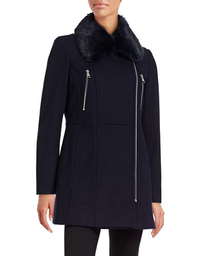 Karl Lagerfeld Paris Melton Faux-Fur Collar Coat-NAVY-X-Large