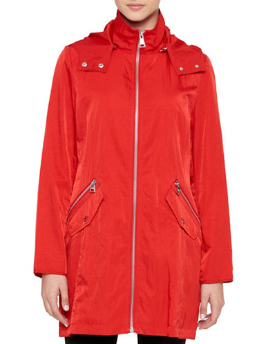 Karl Lagerfeld Paris Packable Rain Jacket with Hood-RED-Medium