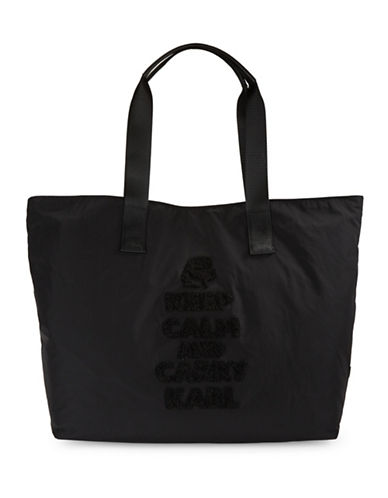 Karl Lagerfeld Paris Embellished Nylon Tote-BLACK-One Size