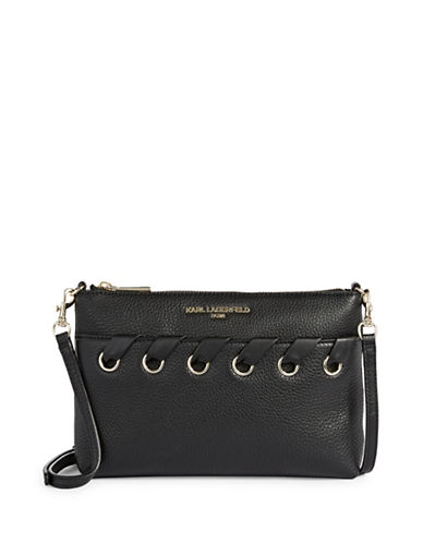 Karl Lagerfeld Paris Rivet Detail Crossbody Bag-BLACK-One Size