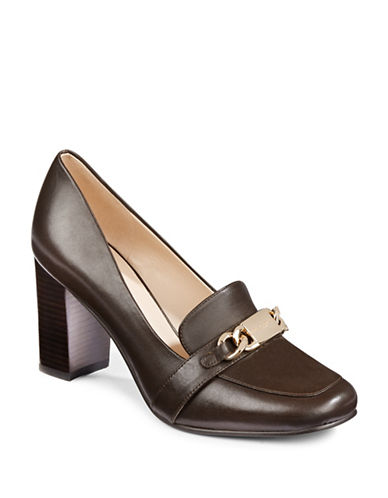 Karl Lagerfeld Paris Kari Leather Heeled Loafers-DARK BROWN-10