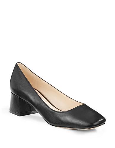 Karl Lagerfeld Paris Charee Leather Heels-BLACK-7.5