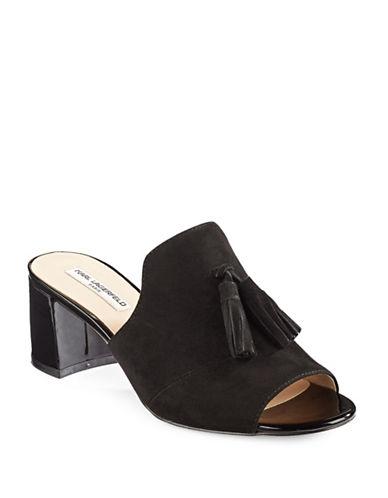 Karl Lagerfeld Paris Hettie Leather Tassel Mules-BLACK-9