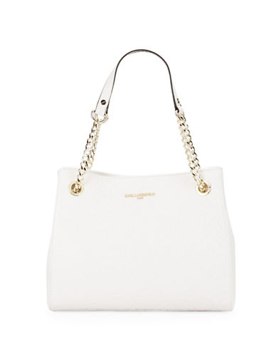 Karl Lagerfeld Paris Rose Textured Tote-WHITE-One Size