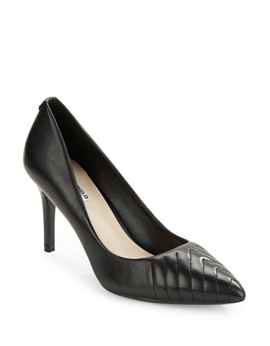 Karl Lagerfeld Paris Roulle Leather Point-Toe Pumps-BLACK-7