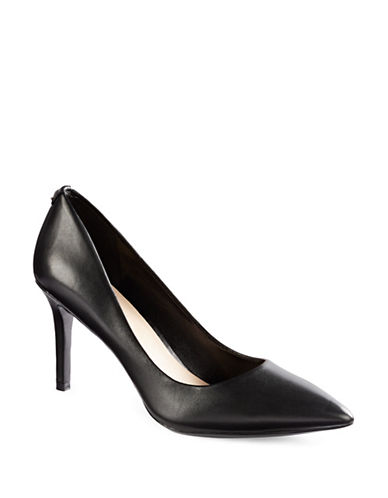Karl Lagerfeld Paris Royale Point Toe Leather Pumps-BLACK-8.5