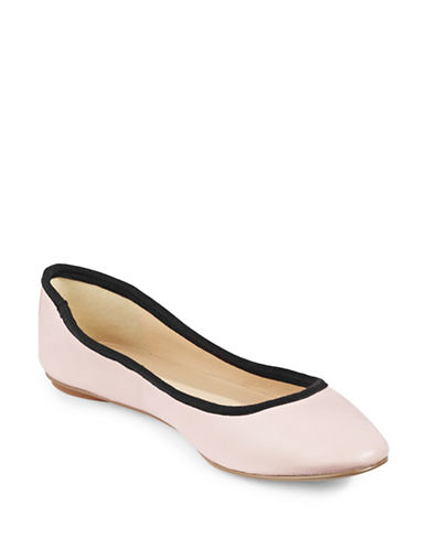 Karl Lagerfeld Paris Leroux Leather Ballet Shoes-BLUSH/BLACK-7.5